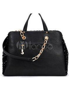 Saco de Tote preto lantejoulas Glitter PU couro feminino de moda - Milanoo.com