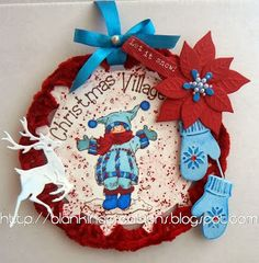 Snoesjes christmas card with crochet border and MD dies by Blankina