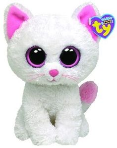 "Ty Beanie Boo's Kitty Cat White Kitten Pink Eyes ""Cashmere"" Stuffed Animal Toy"
