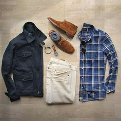 Outfit grid - Jacket & checked shirt