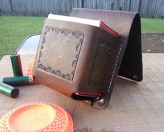 This is a great color for the pouch. Nice and dark espresso coffee color. Love the pattern as well. Simple and upscale Leather Belt Bag, Leather Case, Leather Backpack, Leather Crafts, Leather Projects, Fire Hose Projects, Sporting Clays, Shooting Accessories, Belt Bags