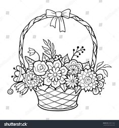 ideas for basket pattern drawing coloring pages Printable Flower Coloring Pages, Easy Coloring Pages, Coloring Books, Kids Coloring, Embroidery Flowers Pattern, Embroidery Patterns Free, Basket Drawing, Line Art Images, Vector Flowers