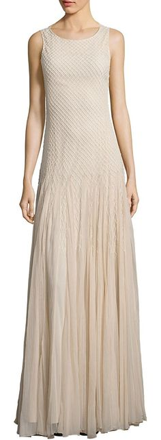 saori embellished godet gown by Alice + Olivia. Enchanting godet gown with lattice-inspired beading. Roundneck. Sleeveless. Godet skirt. Concealed side zip. Lined. A...