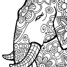 New To LittleShopTreasures On Etsy Elephant Coloring Page Print And Color Nature Flowers Adult Original Instant Digital Download 280