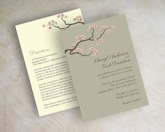 Pink cherry blossom tree branch wedding invitations, wedding invites www.appleberryink.com
