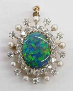 Lady's Black Opal & Diamond Pendant Brooch 1.5''x1''.