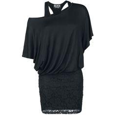 Vestido de Black Premium por EMP como combinación de camiseta murciélago a doble capa y falda con encaje de 100% poliester. Largo de aprox. 63 cm.