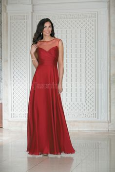 Jasmine Bridal Bridesmaid Dress Belsoie Style L174006 in Apple. A simple yet stylish dress. Features an illusion boat neckline, ruching in the bodice, and an A-line skirt. A beautiful bridesmaids dress and a wonderful addition to any bridal party.