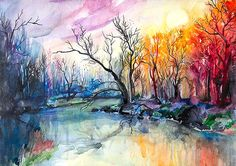 River landscape watercolor  painting print 8 x 12 by SlaviART, $25.00