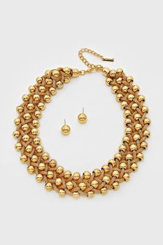 Gold Dotted Mesh Necklace ==
