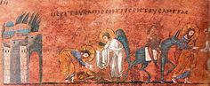 Parable of the Good Samaritan, Illumination from the Rossano Gospels (Codex Purpureus Rossanensis), 6th century.