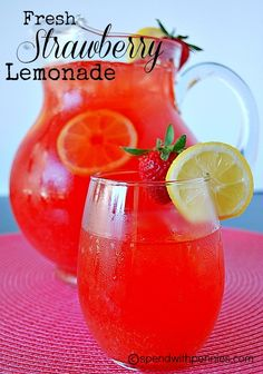 This is the ultimate in summer drinks!  Ripe strawberries and zesty tart lemons make such a refreshing drink to sit on the patio!  This is a great drink for the whole family!