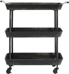 Black Metal Trolley with Three Tiers (Kitchen trolley)