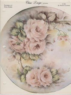 Pink Roses  by Wanda Clapham  China Painting Study 1965