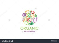 Healthy Organic Eco Vegetarian Food Logo Design Vector Template. Ecology Health Eco Organic Logo Fresh From Farm Vegetables Logotype Concept Icon. - 370092137 : Shutterstock