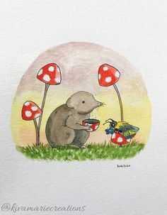 This wee shrew and bumblefriend were long overdue for a cuppa and conversation. I wonder what things the little folk of the forest and field talk about? 🍵🐝🍄 kivamariecreations.com #makemindfulart #art #illustration #illustrator #queerartist #novascotiaartist #canadianartist #illustratorsoninstagram #inkandwash #watercolour