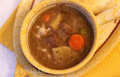 Hearty Slow Cooker Beef Stew - A creamy beef stew with potatoes, onion, carrot and celery and cooked in the slow cooker. Here it is served over rice, in the Deep South tradition. Crock Pot Slow Cooker, Crock Pot Cooking, Slow Cooker Recipes, Crockpot Recipes, Soup Recipes, Great Recipes, Cooking Recipes, Recipies, Favorite Recipes