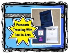 The kids love stamping in the passport each week! These are half sheets and look like real passports. Each week the students use a wood stamp to mark the destination of Paul for the lesson. There are directions, ideas and links in the download.  I printed my cover on a heavy blue cardstock, and the inside on white cardstock.