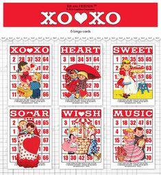 Digital Valentine bingo / retro children ephemera cards / vintage Valentine / by and by Valentine Bingo, Vintage Valentines, Valentine Crafts, Bingo Cards, Printable Cards, Greeting Cards, Special Words, Scrapbook Embellishments, Vintage Cards