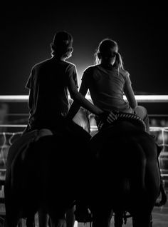 Horesback love love cute black and white couples animals night horses