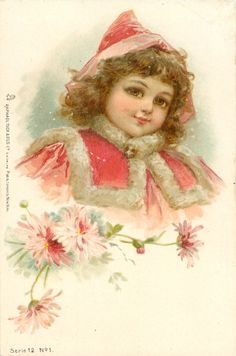 head & shoulders study of girl in red cape trimmed with fur, red hat, pink asters below