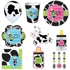 Cow Print and Milk Baby Shower Supplies