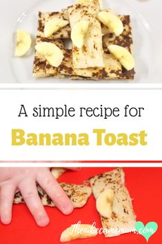 Simple healthy recipe for making banana toast. Great breakfast and snack idea. Suitable for baby led weaning. Egg Free Recipes, Simple Recipes, Easy Healthy Recipes, Easy Meals, Pureed Food Recipes, Banana Recipes, Free Breakfast, Breakfast For Kids, Family Recipes