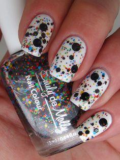 black and multi colored glitter nail polish shop.wigsbuy.com