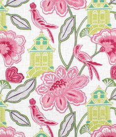 Braemore Emperor's Garden Blossom / Chinoiserie / Toile / Home Decor Fabric / BTY / Pink Gray Teal Kiwi Ivory Drapery Fabric, Drapes Curtains, Window Valances, Floral Curtains, Curtain Panels, Bird Theme, Pink Bird, Fabric Birds, Fabric Remnants