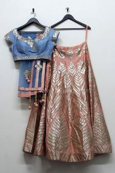 A royal touch to your personality after wearing this beautiful Choli Suit. This lovely Silk fabric Peach colored fancy Lehenga beautified with gota patti work. Available with Net fabric Grey colored dupatta for a gorgeous look. Indian Bridal Wear, Indian Wear, India Fashion, Asian Fashion, Indian Dresses, Indian Outfits, Desi Clothes, Indian Clothes, Indian Couture