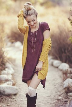 Black Knee-High Boots, White Over-the-Knee Socks, Maroon Cotton Dress, Mustard Sweater... Cheerful Bohemian