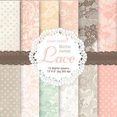 12 Romantic Lace Digital Papers Pack in pastel. (paper crafts,card making,scrapbooking) via Etsy