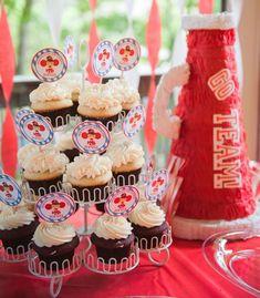 Michelle W's Birthday / Cheerleading - Photo Gallery at Catch My Party Cheer Birthday Party, Cheer Party, 8th Birthday, Cheerleader Party, Birthday Ideas, Cupcake Party, Mini Cupcakes, Cheerleading Photos, Party Themes