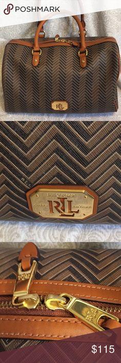 Ralph Lauren Boswell Barrel Satchel Gorgeous Ralph Lauren Boswell Barrel Satchel with chevron pattern satchel with leather trim. Super clean, great condition! Measures 13.5 inches wide, 11 h, 5 w Ralph Lauren Bags Satchels