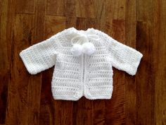 Retro Style Hand Crochet White Cotton Infant Sweater - Drawstring and Pompoms Tie - Size Newborn to 3 Months.  Custom Orders are Welcome - Available to Sizes Newborn to 12 Months. BabySuzannaJohanna, $30.00