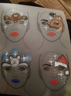 Face painting Χριστούγεννα - Della U. Christmas Makes, Kids Christmas, Xmas, Christmas Face Painting, Cheek Art, Christmas Makeup Look, Initial Tattoo, Fantasy Make Up, Face Paint Makeup