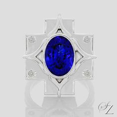 A exceptional Tanzanite set in an incredible, eye catching contemporary setting. A ring as unique and special as the Tanzanite itself. An exquisite one of a kind piece!