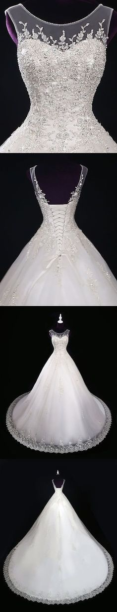 Ball Gown Wedding Dresses : Wedding Dresses: New Lace Ivory/White Wedding Dress Bridal Gown Custom Size 2 4