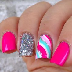 very brght nail art/  pink nail art