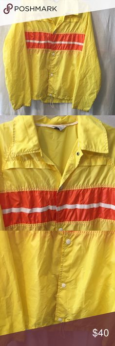 """Vintage Leggs Jacket Leggs vintage men's sportswear jacket Size large Yellow, orange, and white color block Not sure of exact material, but feels like lightweight plastic Chest 22"""" across Length 27"""" Snap button Front Jackets & Coats Raincoats"""