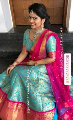 Half Saree Designs, Fancy Blouse Designs, Sari Blouse Designs, Lehenga Designs, Lehenga Crop Top, Half Saree Lehenga, Saree Dress, Indian Attire, Indian Outfits