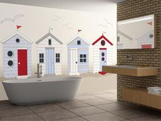 British Beach Huts Wallpaper Mural - would make a great kids bedroom too :)