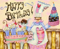 Happy Birthday illustration art by Jennifer Lambein via www.Facebook.com/JenniferLambeinStudioPetite