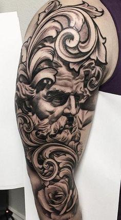 Baroque Tattoo, Filagree Tattoo, Lil B Tattoo, Zeus Tattoo, Grace Tattoos, Boho Tattoos, Best Sleeve Tattoos, Tattoo Sleeve Designs, Badass Tattoos