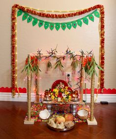 Ganesh pooja without palavelli seems incomplete. In the southern part of India, especially Andra Pradesh it is a tradition to hang the wodden grid called palavelli above Lord Ganesha during Ganesh … Ganpati Decoration Design, Mandir Decoration, Ganapati Decoration, Decoration Crafts, Diwali Decorations, Flower Decorations, Housewarming Decorations, Ganesh Pooja, Sri Ganesh
