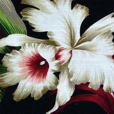TransPacific Hawaiian Bark Cloth Cotton Fabric Orchids & Leaves on Black