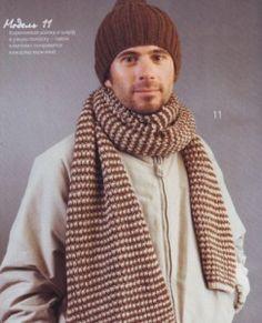 Мужская шапка и полосатый шарф, вязаные спицами