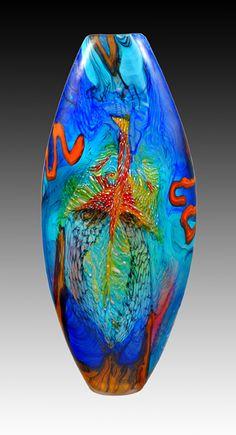 """~~Noel Hart, Artist, Panamanian Feniz Macaw In Flight, handblown glass, 26 1/2""""x11 1/2""""x3 1/2""""~~"""