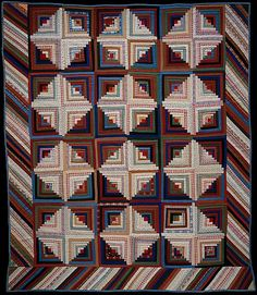 Quilt, Log Cabin pattern, Light and Dark variation    Date:      ca. 1865  Geography:      Mid-Atlantic, Pennsylvania, United States  Culture:      American  Medium:      Wool and cotton  Dimensions:      92 1/2 x 80 in. (235 x 203.2 cm)  Classification:      Textiles  Credit Line:      Purchase, Eva Gebhard-Gourgaud Foundation Gift, 1973  Accession Number:      1973.159    This artwork is not on display