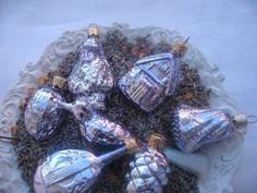 Vintage German Christmas Ornaments. $12.00, via Linen Haus on Etsy.